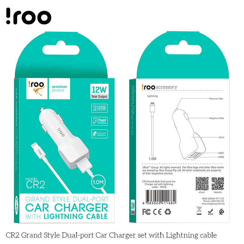 iRoo CR2 12W Car Charger /w Lightning Cable