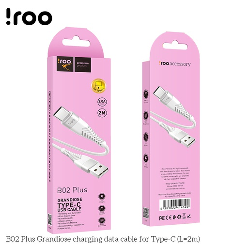[B02-2M] iRoo B02-2M Grandiose USB cable - Type-C - 2M
