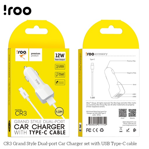 [CR-3] iRoo CR3 12W Car Charger /w Type-C Cable