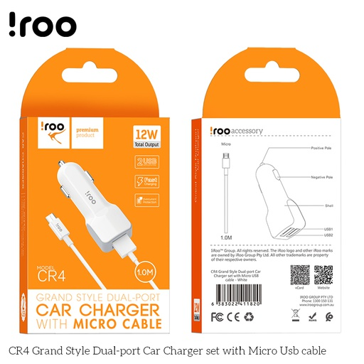 [CR4] iRoo CR4 12W Char Charger /w Micro Cable